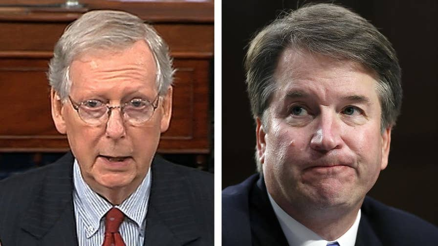 Senate Majority Leader Mitch McConnell accuses Senate Democrats of trying to destroy Supreme Court nominee Brett Kavanaugh's reputation with decades-old allegations, pledges to give Kavanaugh an up-or-down vote on the Senate floor.