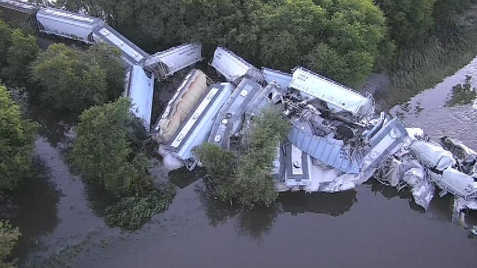Aerial footage of a train derailment near Alton, Iowa