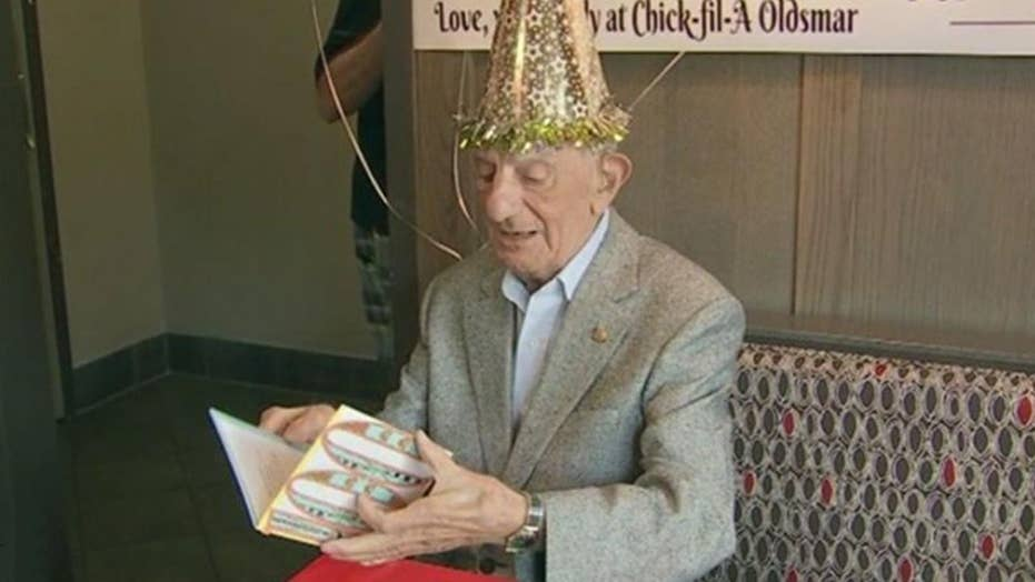 Chick-fil-A throws surprise birthday party for 100 -year-old
