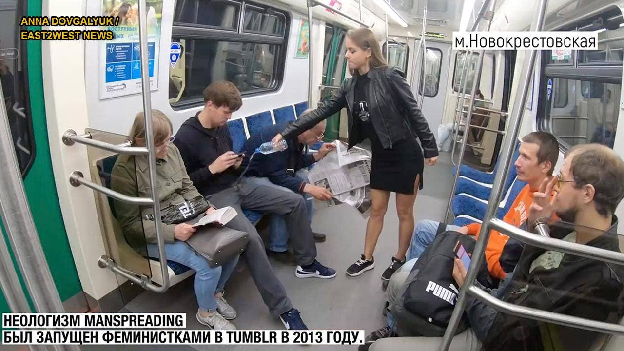 Russian law student fed up with 'manspreading' allegedly dumps bleach on passengers in viral video