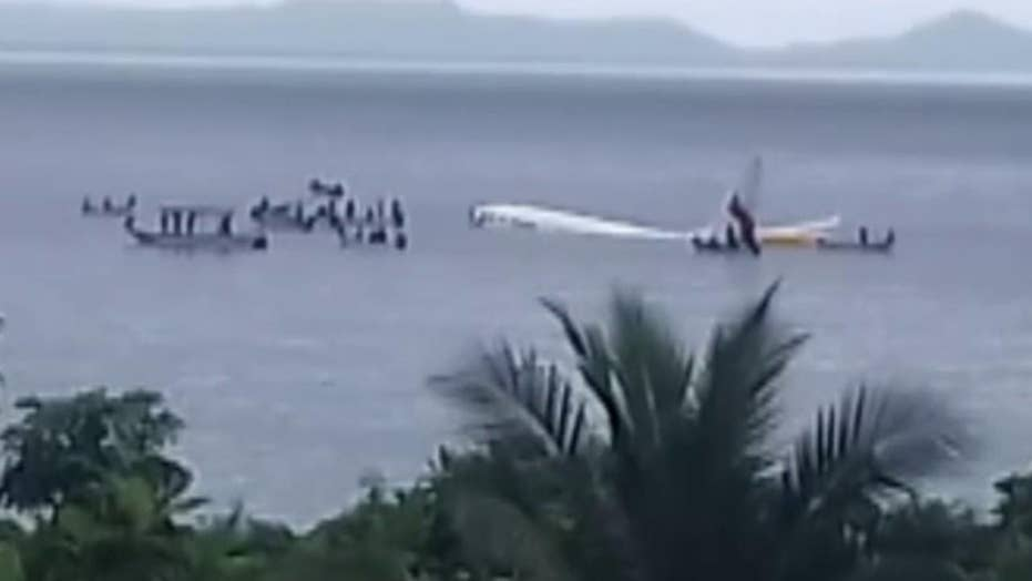 Raw video: Passenger jet crashes into water in Micronesia