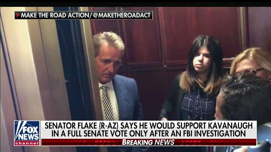 Flake Confronted by Protester for Supporting Kavanaugh