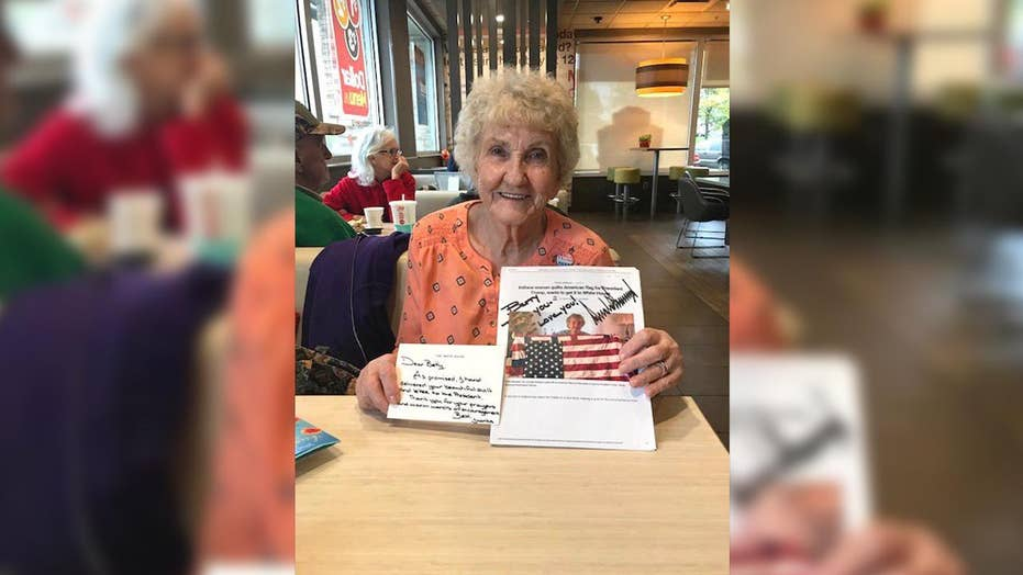 84-year-old's flag quilt charms President Trump