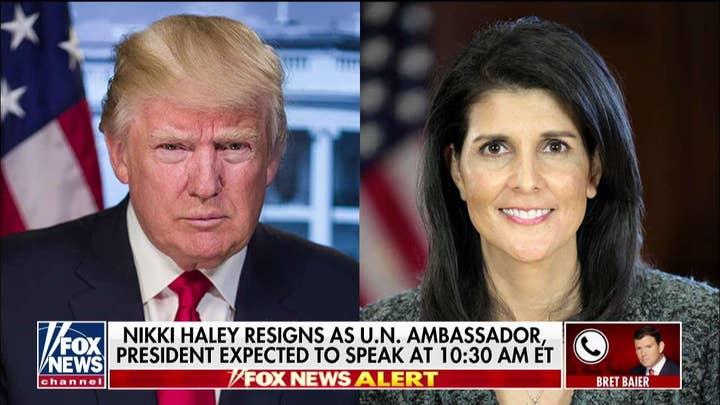 'This Is Surprising': Bret Baier Reacts to UN Ambassador Nikki Haley's Resignation