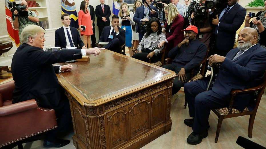 Trump hosts Kanye West, Jim Brown in Oval Office