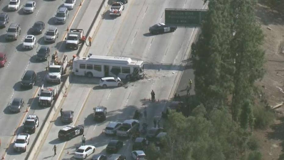California bus crash leaves 40 injured