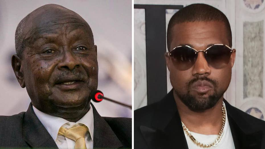 Kanye courts controversy, meets president of Uganda