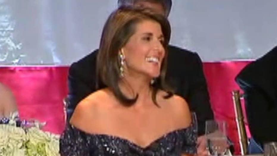 Amb. Nikki Haley jokes about Trump, Warren at NY gala