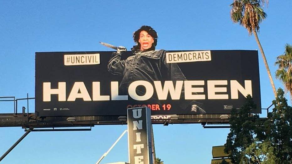 Street artist swaps Maxine Waters' head on 'Halloween' promo