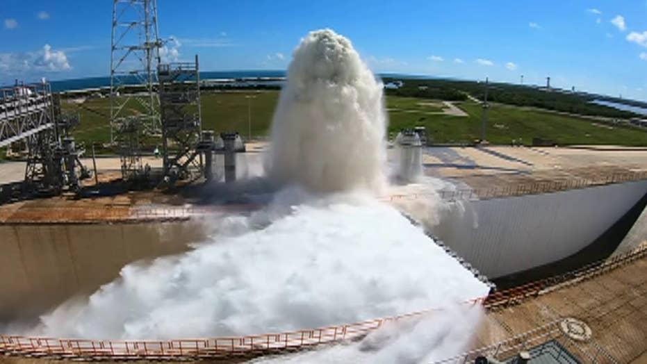 NASA tests launch pad water deluge system