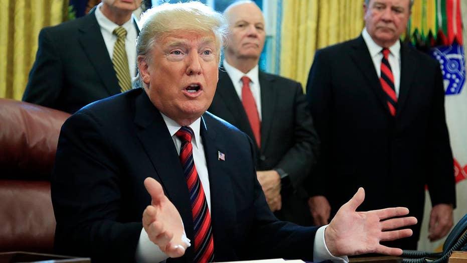 President Trump blames Democrats for caravan, fires up his base.