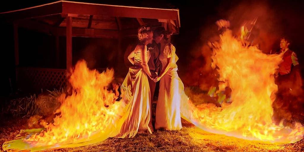 Adrenaline Junkie Brides Light Wedding Dresses On Fire After Walking Down The Aisle Fox News