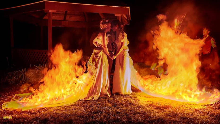 Two brides set their dresses on fire while wearing them