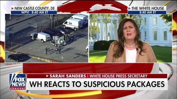 Sarah Sanders on CNN blaming Trump for suspicious packages.