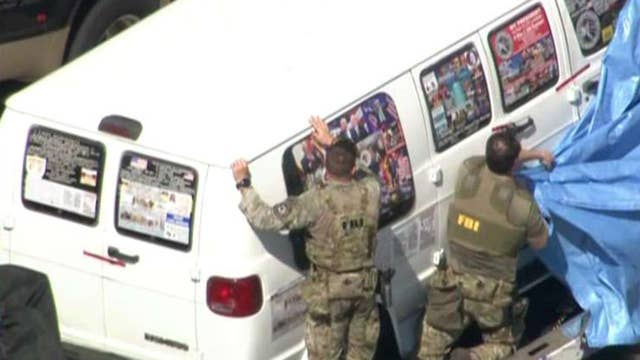 Mail bomb suspect's van covered in political stickers