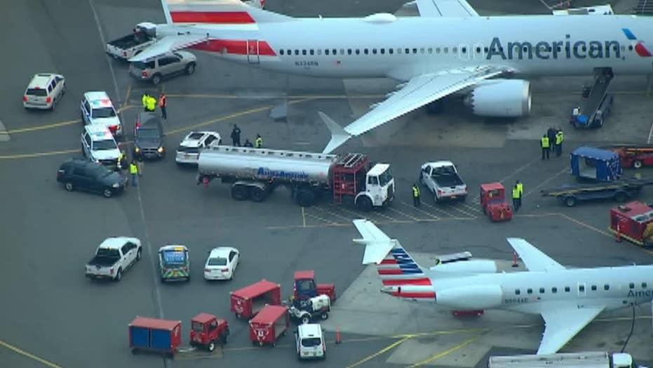 Fuel truck hits plane at LaGuardia Airport