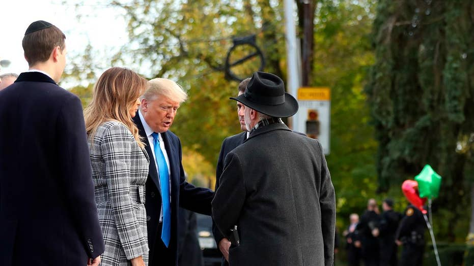 President Trump arrives at Tree of Life synagogue