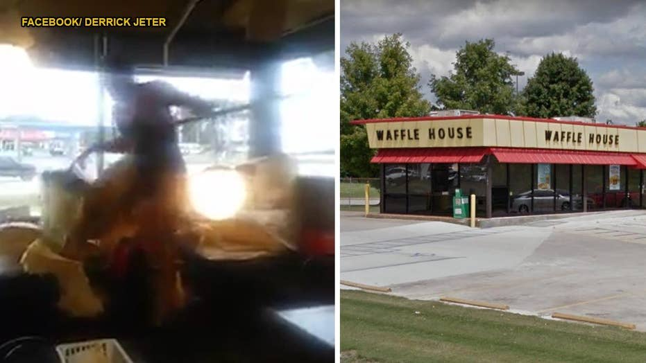 WILD VIDEO: Man falls through Waffle House ceiling, fights with patrons