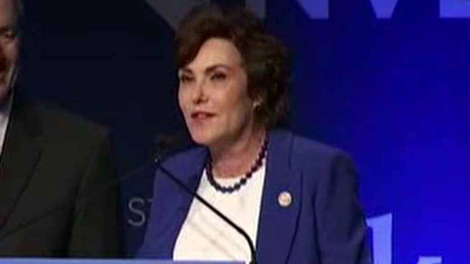 Democrat Jacky Rosen addresses supporters in Nevada