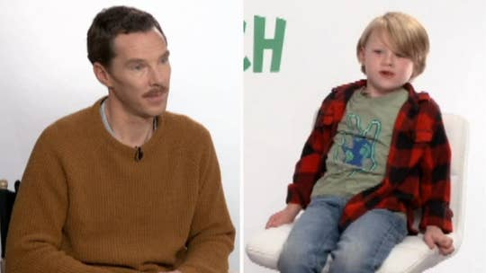 Benedict Cumberbatch talks to a young fan about 'The Grinch'