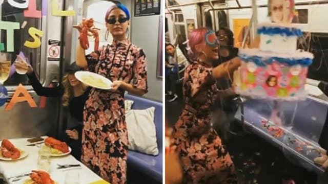 Group celebrates friend's birthday on NYC subway