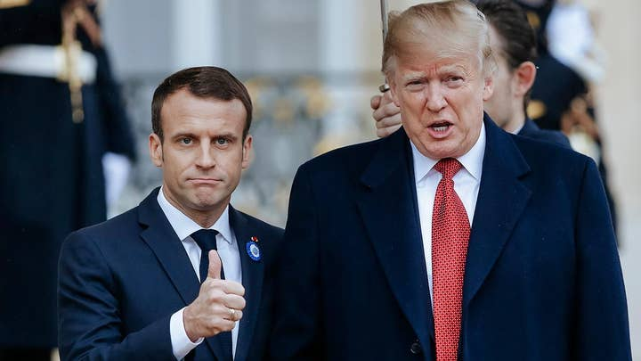 President Trump meets Emmanuel Macron in Paris