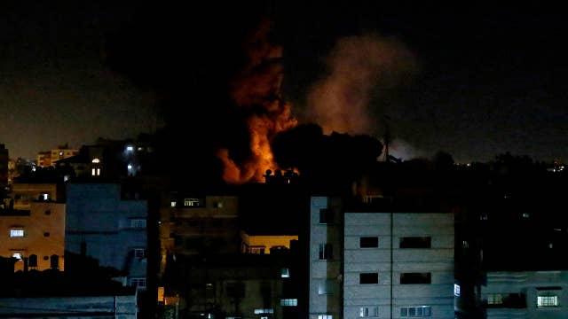 Israeli Iron Dome position responds to Hamas rocket attack