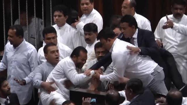 Rival lawmakers fight in Sri Lanka's parliament