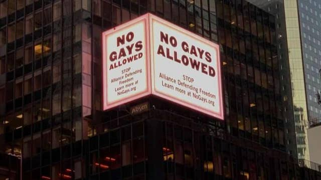 Conservative group smeared on Times Square billboard