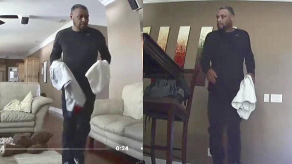 Boy spots burglar from home surveillance video