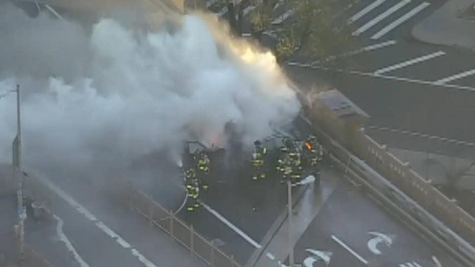 Fiery crash on the Brooklyn Bridge kills 1, injures 6