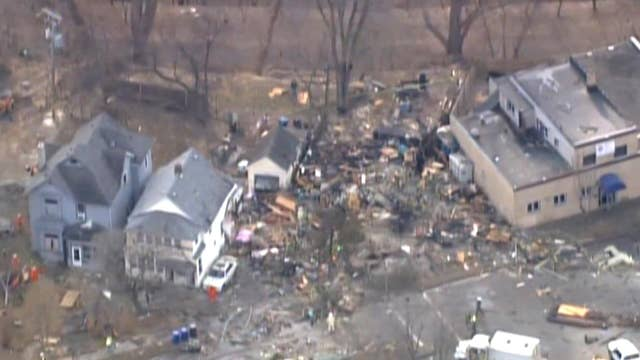 Aerial footage shows destruction from house explosion