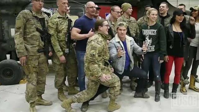 USO entertains troops, gives thanks to military spouses