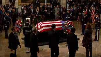 President Trump, first lady visit George H.W. Bush's casket at US Capitol after emotional ceremony