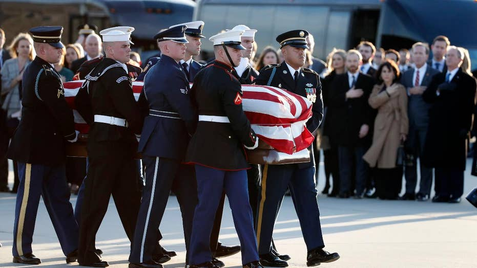 George H.W. Bush's casket arrives at Joint Base Andrews
