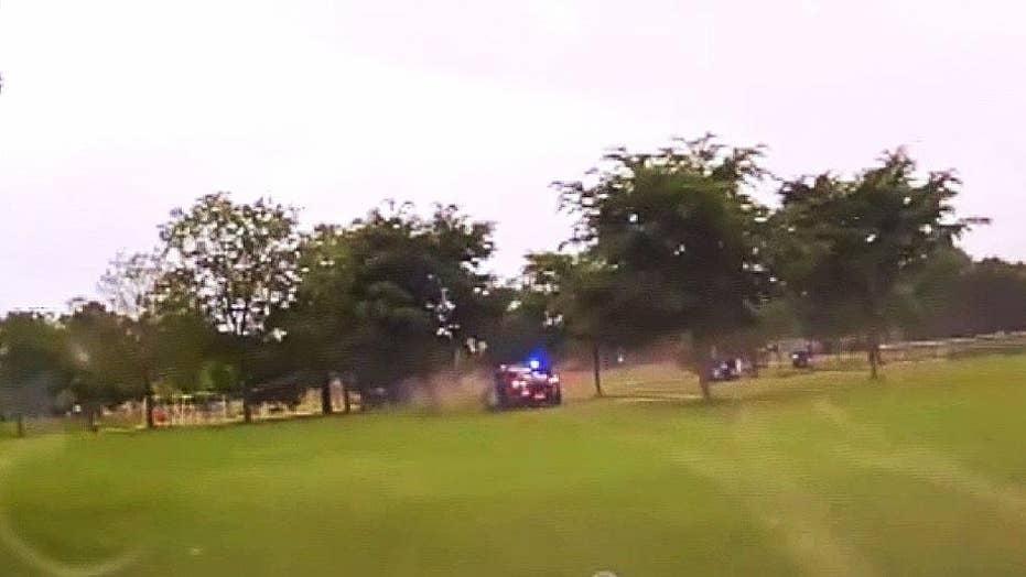 Police dashcam video shows driver crashing into playground