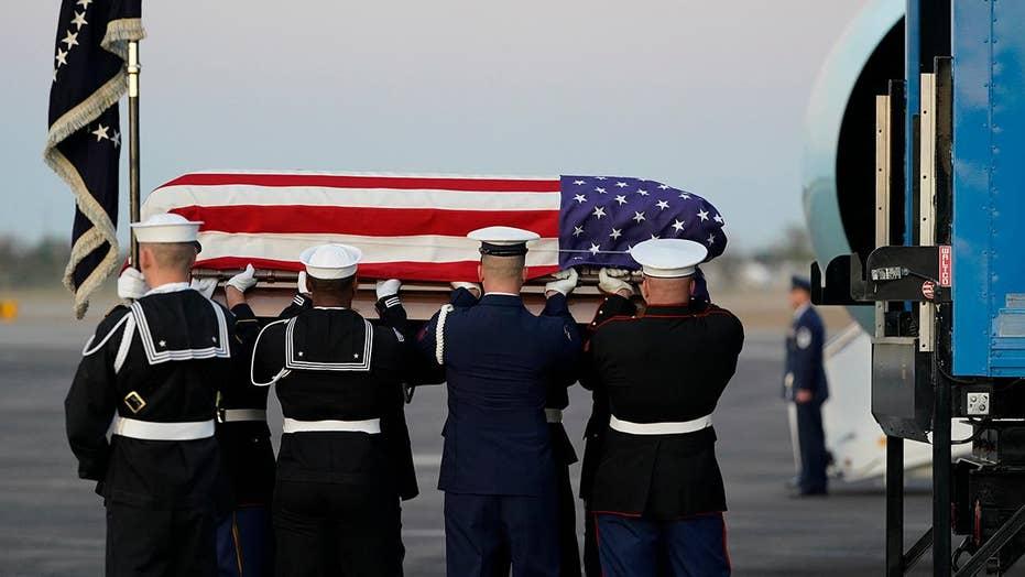 President George H.W. Bush's casket arrives in Houston