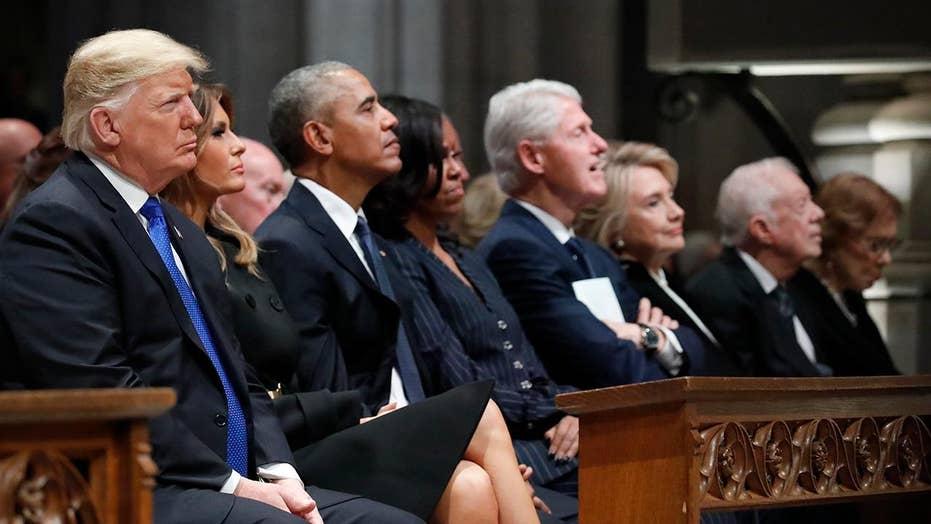 Political unity at Bush funeral despite personal tensions