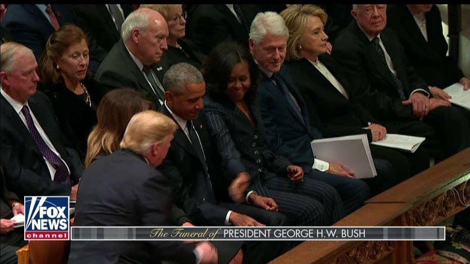 Did Hillary Snub Trump at Bush Funeral?