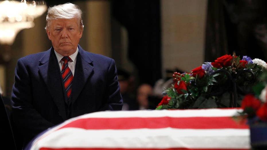 Media attacks Trump in coverage of Bush's death