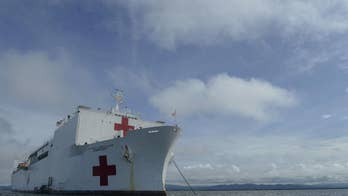 Floating US Navy hospital ship treating Venezuelan migrants