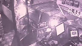 Video shows suspects crash truck into California gas station, steal ATM