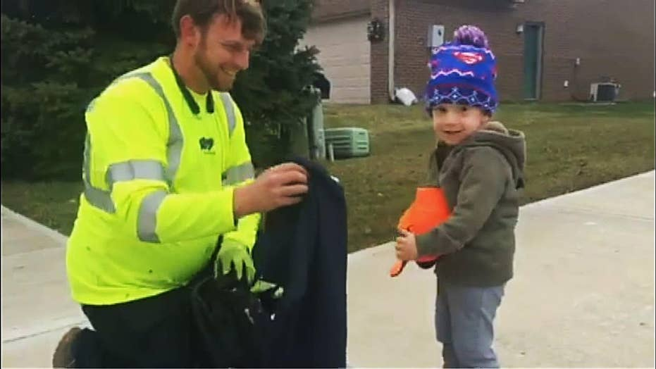 2-Year-Old gets suprise swag bag from favorite trash man