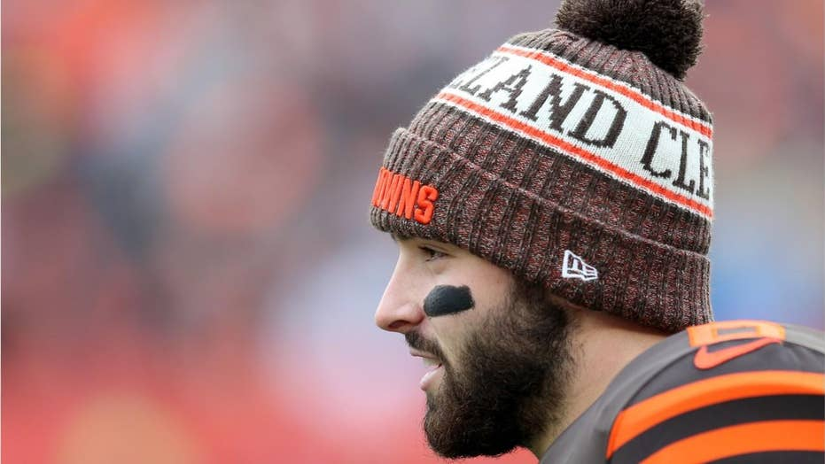 Cleveland Browns' Baker Mayfield appears to stare down former coach Hue Jackson