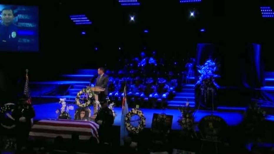 Law enforcement officers from around the country gather in Modesto, California, for funeral of Col. Ronil Singh