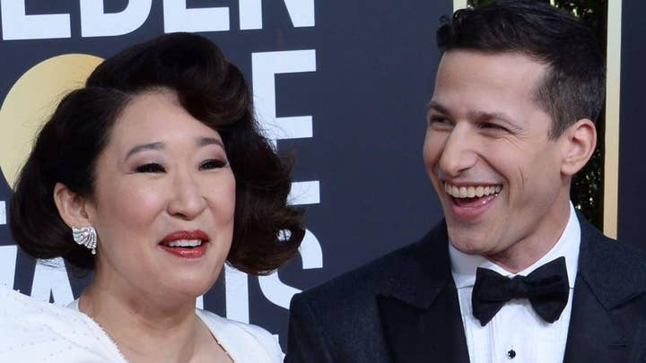 Sandra Oh delivers an emotional opening speech during Golden Globes