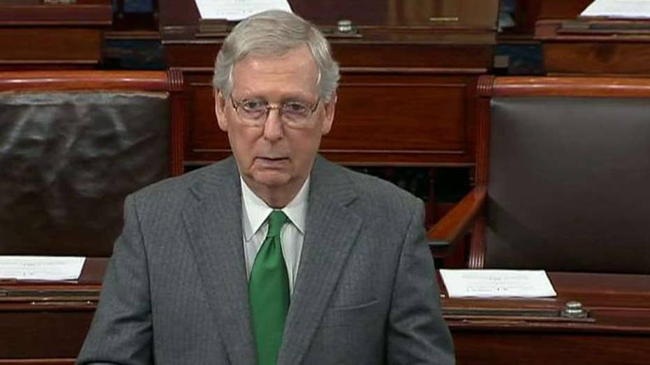 Senate Majority Leader Mitch McConnell speaks as partial government shutdown drags on over border security