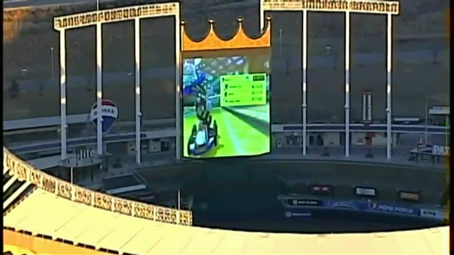 Helicopter captures video of Mario Kart being played on Kansas City Royals' stadium scoreboard