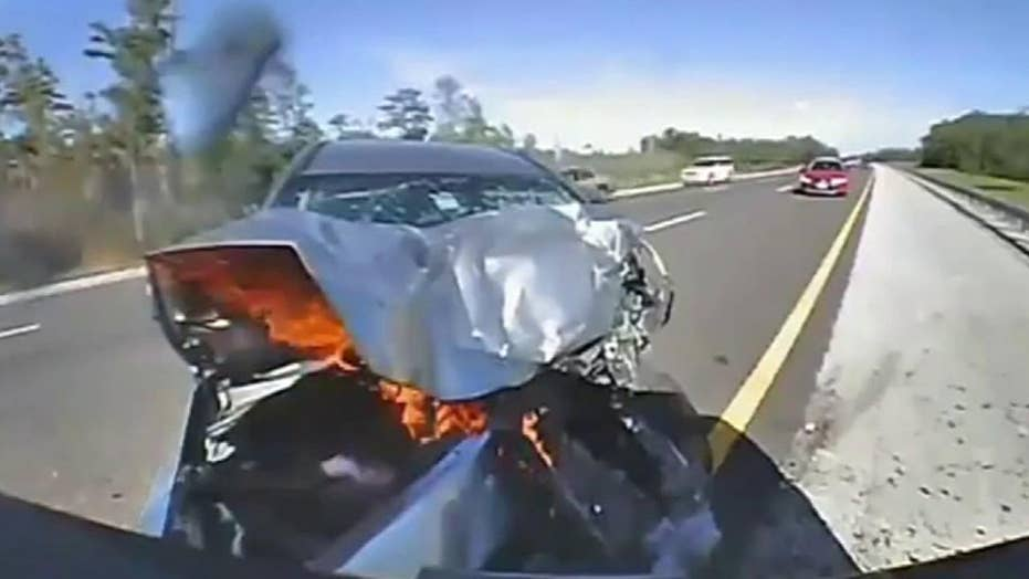 Raw dash cam video: Vehicle slams into Florida Highway Patrol trooper