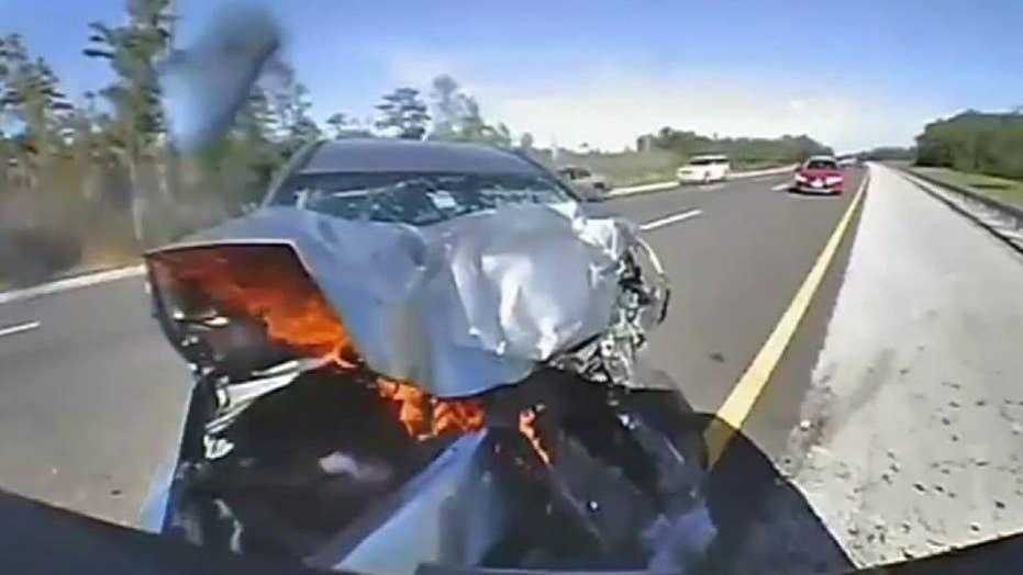 Raw dash cam video: Vehicle slams into Florida Highway Patrol trooper